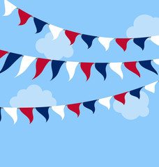 Flags USA Set Bunting Red White Blue for Celebration