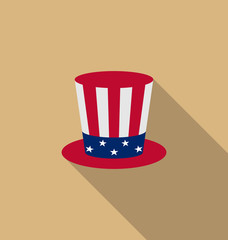 Uncle Sam's hat for american holidays, flat icon with long shado