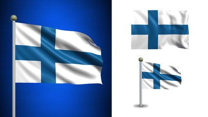 Finland flag - with Alpha channel, seamless loop!