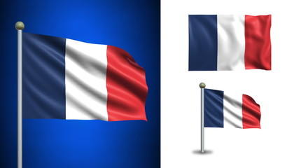 France flag - with Alpha channel, seamless loop!