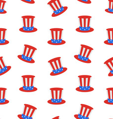 Seamless Texture with Uncle Sam's Top Hat for American Holidays