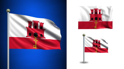 Gibraltar flag - with Alpha channel, seamless loop!
