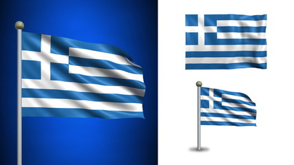 Greece flag - with Alpha channel, seamless loop!