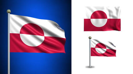 Greenland flag - with Alpha channel, seamless loop!