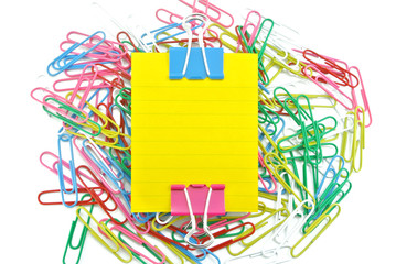 color paper clip and memo note