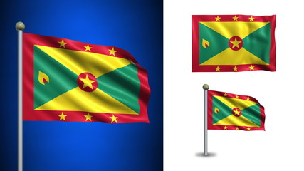 Grenada flag - with Alpha channel, seamless loop!
