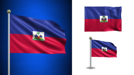 Haiti flag - with Alpha channel, seamless loop!