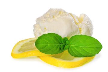Ice cream with fresh lemon