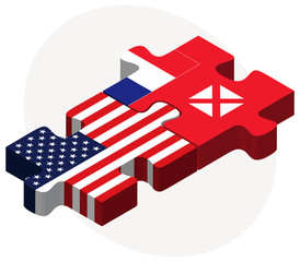 USA and Wallis and Futuna Flags in puzzle