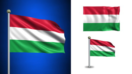 Hungary flag - with Alpha channel, seamless loop!