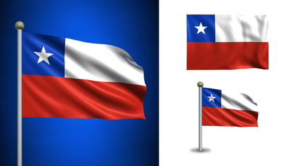 Chile flag - with Alpha channel, seamless loop!
