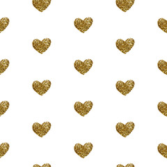 Vector seamless pattern. Golden hearts on white background.