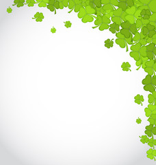 Greeting background with shamrocks for St. Patrick's Day, copy s