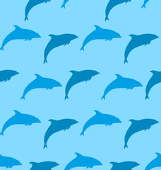 Seamless Pattern with Dolphin, Marine Mammal Animal