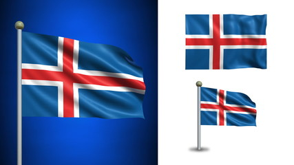 Iceland flag - with Alpha channel, seamless loop!