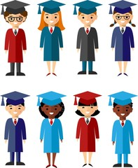 Vector illustration of a Group of School Children and graduates