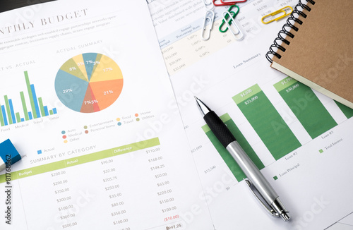 business and financial report with pen.Document is mockup
