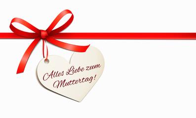 Rote Schleife mit Herz-Etikett - Muttertag