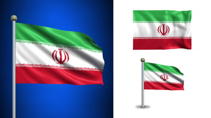 Iran flag - with Alpha channel, seamless loop!