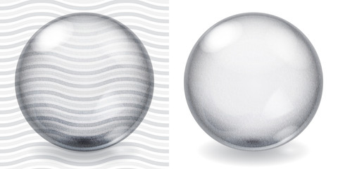 Transparent and opaque gray glass sphere with roughness