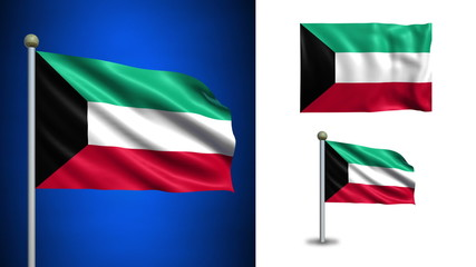 Kuwait flag - with Alpha channel, seamless loop!