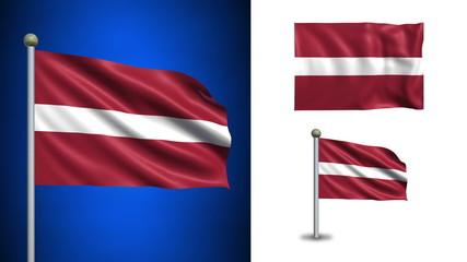 Latvia flag - with Alpha channel, seamless loop!