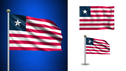 Liberia flag - with Alpha channel, seamless loop!