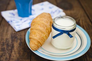 yogurt, coffee and croissant