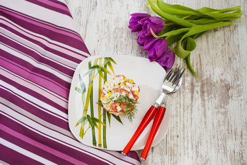 salad from crabsticks with vegetables