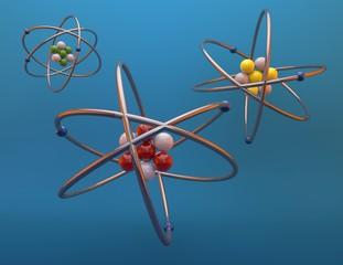 Atoms 3d render illustration, blue background.