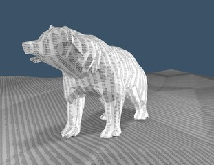 Bear with texture with numbers, 3d render, bull market concept.