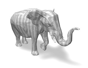 Numbers, math, coding, finance abstract concept with elephant.