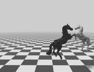 Chess checkered background with horses and copy space.