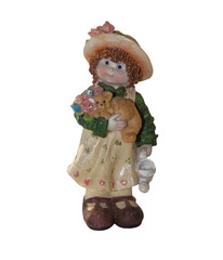 Porcelain figurine: Girl with watering can and a dog. Isolated o