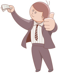 Businessman holding money and showing ok