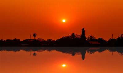 Sunset over Lower Pagoda Temple,Kamphaeng Phet,Thailand