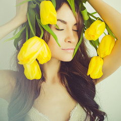 Beautiful lady with tulip