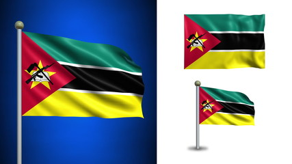 Mozambique flag - with Alpha channel, seamless loop!