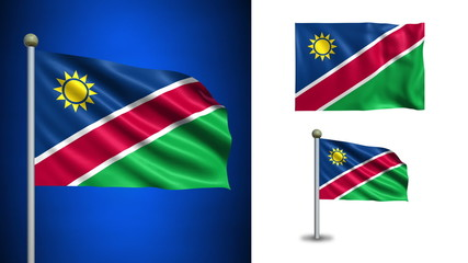 Namibia flag - with Alpha channel, seamless loop!