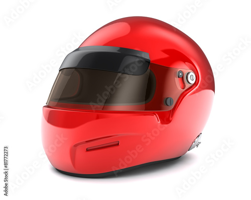 Tuinposter F1 Red helmet Isolated on white background