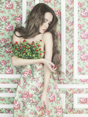 Sensual woman on floral background