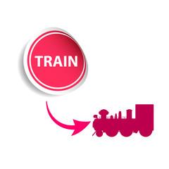 sticker train pink vector