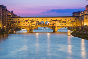 Twilight of Ponte Vecchio the ancient bridge of Florence, Italy.