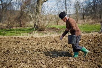 Senior man spreading fertilizer