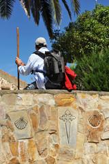 Resting pilgrim, road to Santiago, Spain