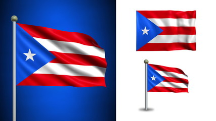 Puerto Rico flag - with Alpha channel, seamless loop!