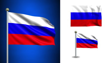Russia flag - with Alpha channel, seamless loop!