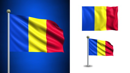 Romania flag - with Alpha channel, seamless loop!