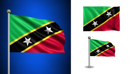Saint Kitts and Nevis flag - with Alpha channel, seamless loop!