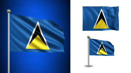 Saint Lucia flag - with Alpha channel, seamless loop!